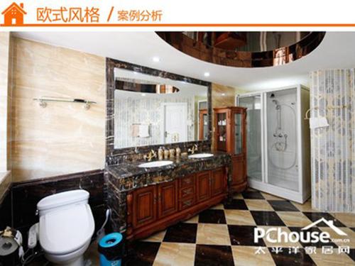 欧式仿古花砖卫生间效果图